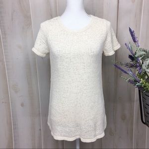 Eileen Fisher Cream Cotton Blend Sweater